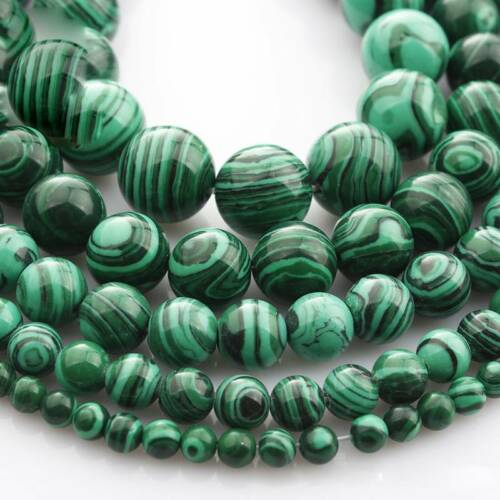 "4mm~12mm Strand 15/"" Natural Malachite Stone Gemstone Round Beads Findings Lots"