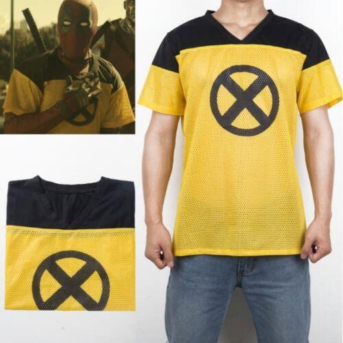New Mens Deadpool Yellow X Men Training Jersey Cosplay Halloween Costume Shirt