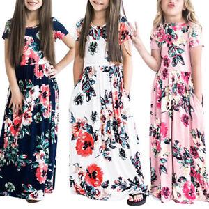 Children-Girls-Dresses-Flower-Print-Wedding-Bridesmaid-Long-Skater-Maxi-Dresses