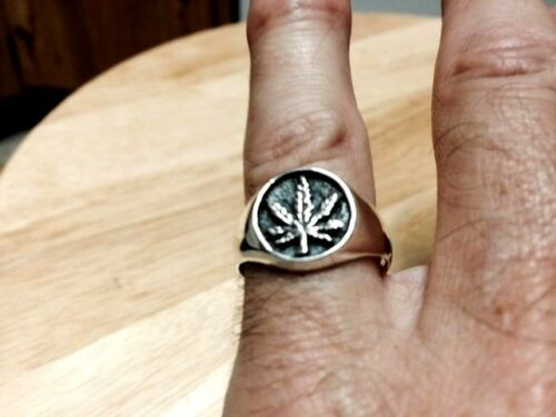 Marijuana Leaf Sterling Silver Ring-Tailles 8-12 .925 Argent Pur