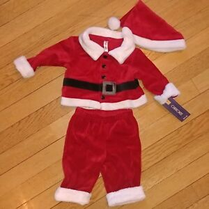 Cherokee Infant Boys 3-Piece Red Velvet Santa Claus Christmas Outfit