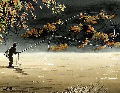 "Fly Fishing /""FALL FISHING/"" Watercolor 8 x 10 Art Print by DJ Rogers"