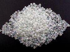 50g 4mm 6/0 Glass Seed Beads - CLEAR Iridescent AB