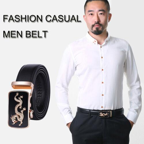 Big Size 105cm-160cm Men/'s Belts Genuine Leather Automatic Buckle Belt Black