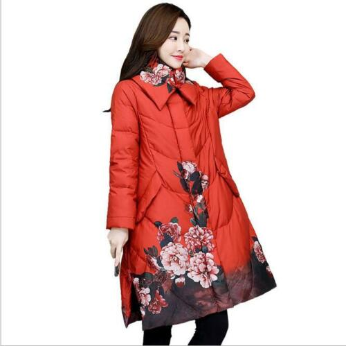 Womens Flower Printed Chinese Style Down Cotton Padded Jacket Lapel Parka Coat