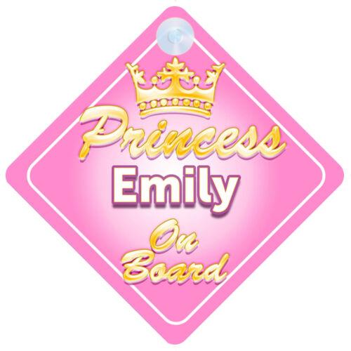 La Princesse Emily à bord personnalisé bébé fille VOITURE SIGNE
