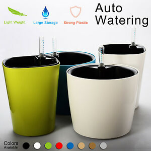 Image Is Loading Self Watering Planter Flower Pot Water Storage Level
