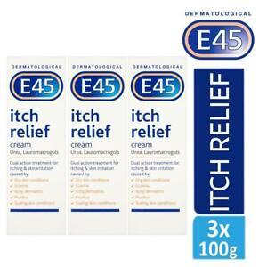 3 x E45 Dermatological Itch Relief Cream Treats Dry,Itchy Skin & Eczema 100g