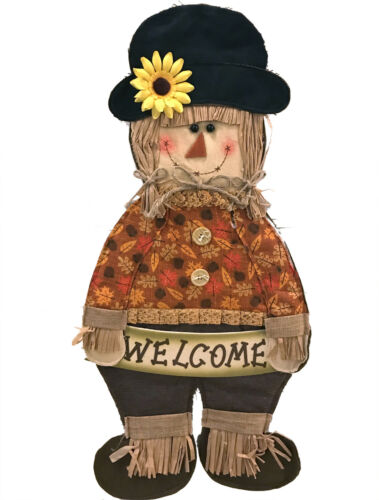 "32/"" Welcome Door Wall Scarecrow Decoration Fall Autumn Halloween Girl Raffia"