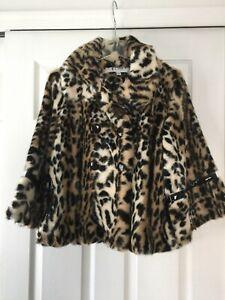 af Jacket Small Leopard Segal Collared Tøjvask Fur Shelli Faux Women's qn1Wxw8Td