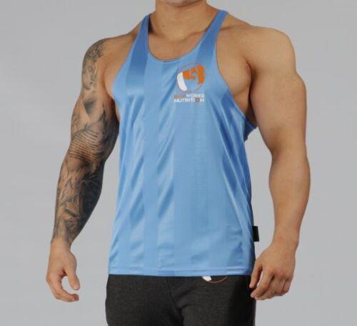 MENS POLYESTER BLUE TEAM IRONWORKS T-BACK GYM WORKOUT MUSCLE VEST STRINGER