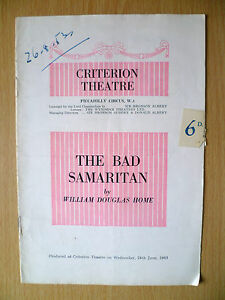 CRITERION THEATRE PROGRAMME 1953 THE BAD SAMARITAN by William Douglas Home - ilford, Essex, United Kingdom - CRITERION THEATRE PROGRAMME 1953 THE BAD SAMARITAN by William Douglas Home - ilford, Essex, United Kingdom