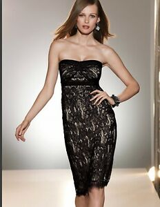victoria's secret little black dress lace strapless size 2