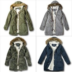 21cd165ae0b58 NWT Abercrombie&Fitch by Hollister Women's Sherpa-Lined Twill Parka ...
