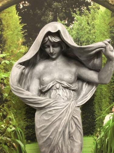 Figur Statue 81cm Grau Frau Dame Edel   Zimmer Statue Garten Deko 0045-23