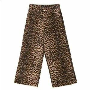 Zara Leopardo Cheetah Pierna Ancha Pantalones Vaqueros Para Mujer Talla 6 De Alto Aumento Culottes Nuevo Ebay