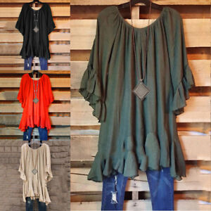 Summer-Women-Tops-BOHO-Tunic-Ruffle-Irregular-Casual-Blouses-Hem-Size-M-5XL-Hot