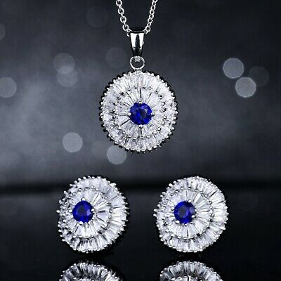 Blue Sapphire Graceful Gemstone Fashion Jewelry Silver Chic Necklace Pendant