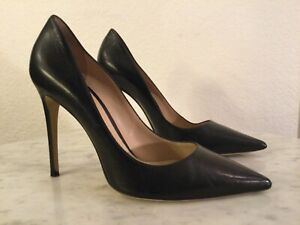 """M. GEMI Black """"THE ESATTO"""" Black Leather Pump. Women's Sz 39 M. Made In Italy"""