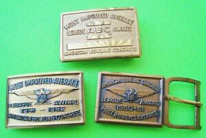3-Dated-1960-039-s-BRASS-BELT-BUCKLES-AMERICAN-BOWLING-CONGRESS-AWARD-BUCKLE-Xlnt