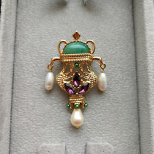 Vintage Aladdin Lamp Green Agate Baroque Freshwater Pearls Gold Tone Brooch Pin