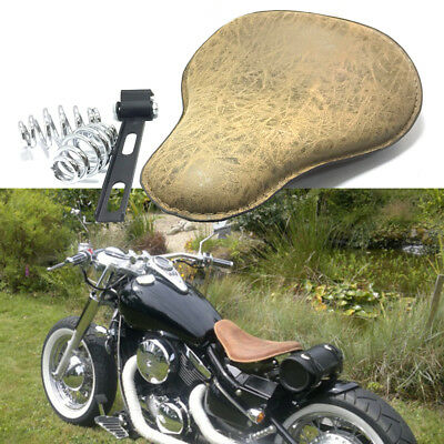 Seat For Harley Sportster Bobber Motorcycle Saddle Leather Spring Solo Bracket