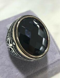 Turkish Handmade Jewelry Sterling Silver 925 Onyx Men/'s Ring 9 10 11