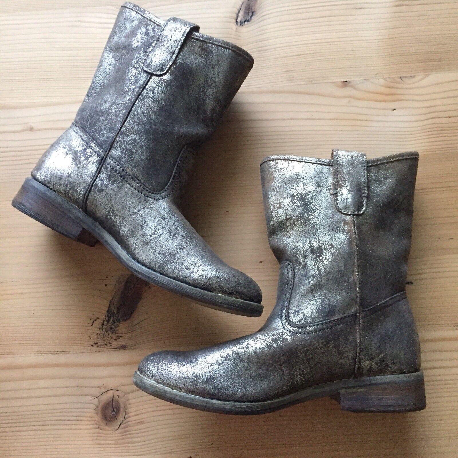 Ralph Lauren Leather Metallic Ayla Boots