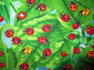 Charmant Details About LADY BUG LADYBUGS LEAVES GARDEN RED GREEN COTTON FABRIC FQ