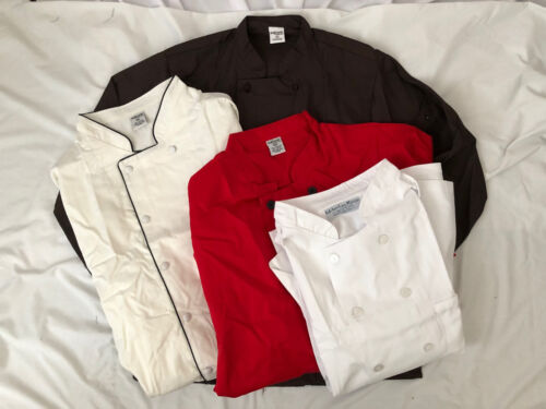 Chef jacket coat small medium large Xl 2x 3x 4x 5x red white brown cook NEW