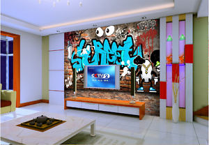 3D Graffiti Letter Eyes Paper Wall Print Wall Decal Wall Deco Indoor Murals