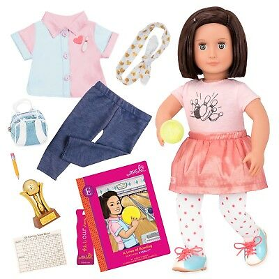 """Lots of Extras Our Generation 18/"""" EVERLY Bowling Doll with Book NIB//Sealed"""