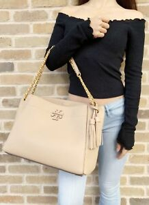 32a8b9e5988e9f Image is loading Tory-Burch-McGraw-Slouchy-Chain-Shoulder-Slouchy-Tote-