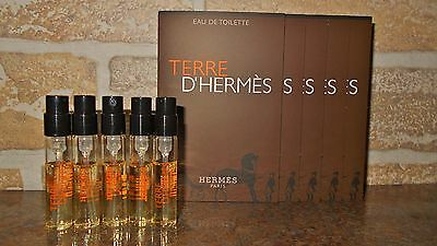 Hermes Terre D`Hermes Mens Cologne Sample Spray Vials Lot of 5