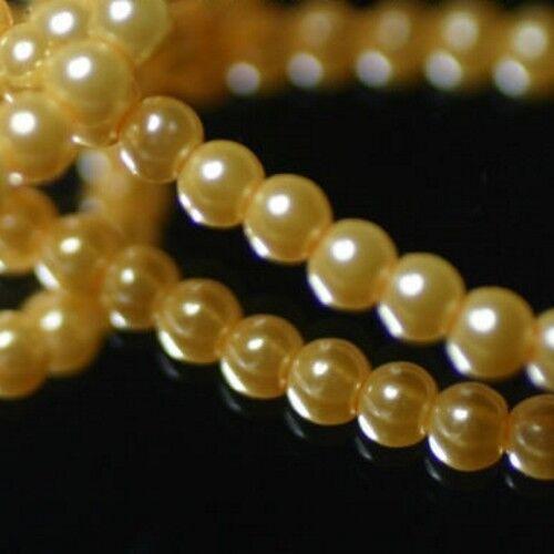 Verre Ø 4 mm JAUNE BEURRE FRAIS 22 Perles Renaissance Nacrées