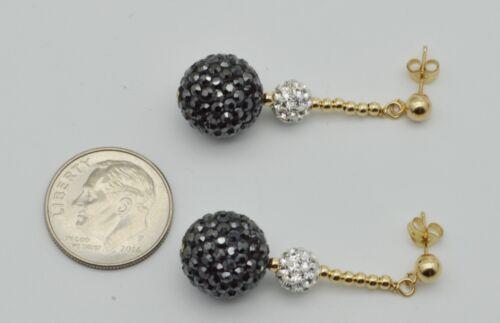 14k solide or jaune 12 mm and6mm NOIR /& CRISTAL BLANC Pave Ball Pendants d/'oreilles