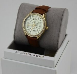 c4bb5ea3317f NEW AUTHENTIC MICHAEL KORS LADY NINI PAVE GOLD CRYSTALS BROWN WOMEN ...