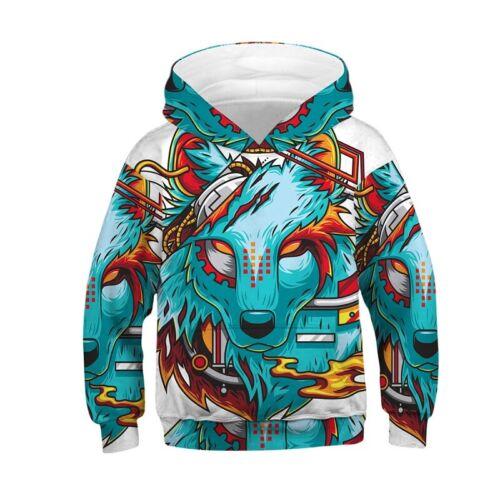 Kids Wolf Print Hoodie Sport Hooded Pullover Sweatshirt Jumper Warm  Winter Coat