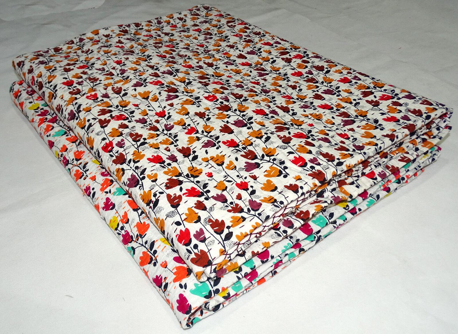 5Pc Lot Single Size Kantha Quilt Bedsheet Small Floral Print Bedspread Gudari