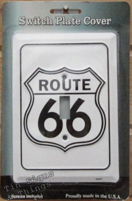 Route 66 LIGHT SWITCH COVER metal vintage garage diner kitchen bar wall decor