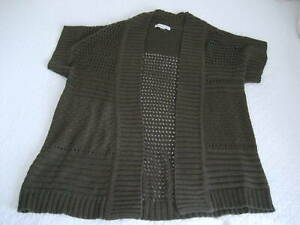 Coldwater-Creek-Chunky-Knit-Open-Front-Dark-Olive-Short-Sleeve-Cardigan-Sz-M-L