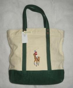 102724538c93 Image is loading Polo-Ralph-Lauren-Embroidered-Pony-Canvas-Tote-Bag-