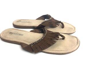Minnetonka-Brown-Fringe-Leather-Flip-Flops-Women-039-s-Sandals-Shoes-Size-US-9