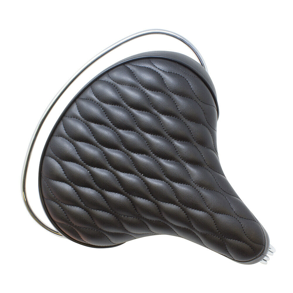 Comfortable Beach Cruisers Bicycle Seats Diamond Web Spring Black-218707