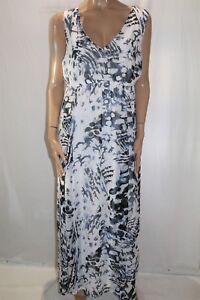 TOGETHER-Ezibuy-Brand-White-Blue-Animal-Print-Maxi-Dress-Size-20-BNWT-LIN