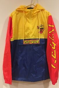 7d275aa94 Details about Pac-Man Video Game Hoodie Windbreaker Jacket Colorblock Men's  XL New!