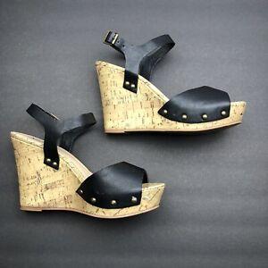 Women-039-s-Arizona-Wedge-Black-Sandals-Size-8-Cork-Wedge-Platform