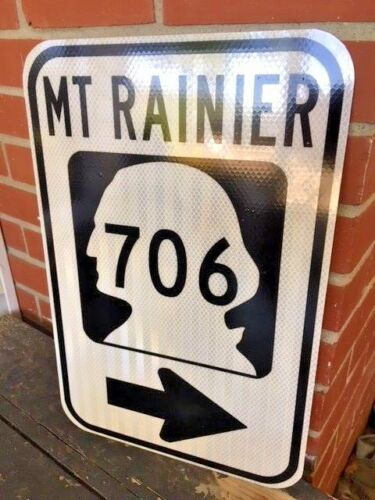 "DOT style MT RAINIER WASHINGTON Highway 706 road sign 12/""x18/"" mountain park"