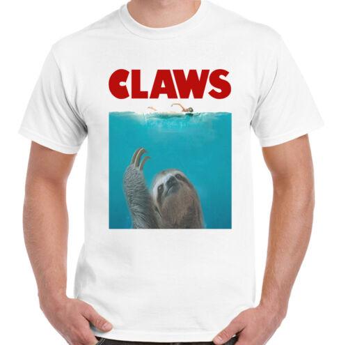 Claws Mens Funny Jaws Sloth Parody T-Shirt Movie Film