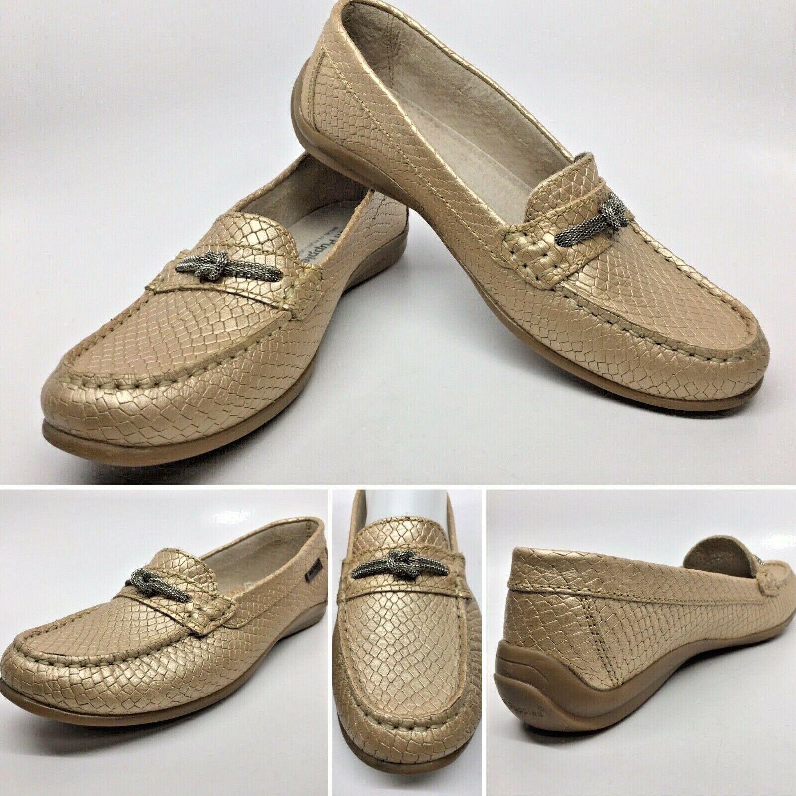 HUSH PUPPIES gold Metallic Chain Knot Snake Mocc Slip-On Loafers Portugal Sz 37
